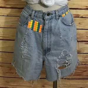 Vintage Chic Jean Mom Shorts, Hand Studded